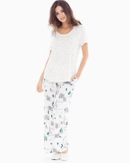 Cool Nights Short Sleeve Pajama Set Picturesque Stars Ivory
