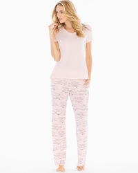 Cool Nights Short Sleeve Pajama Set Love Languages Rose
