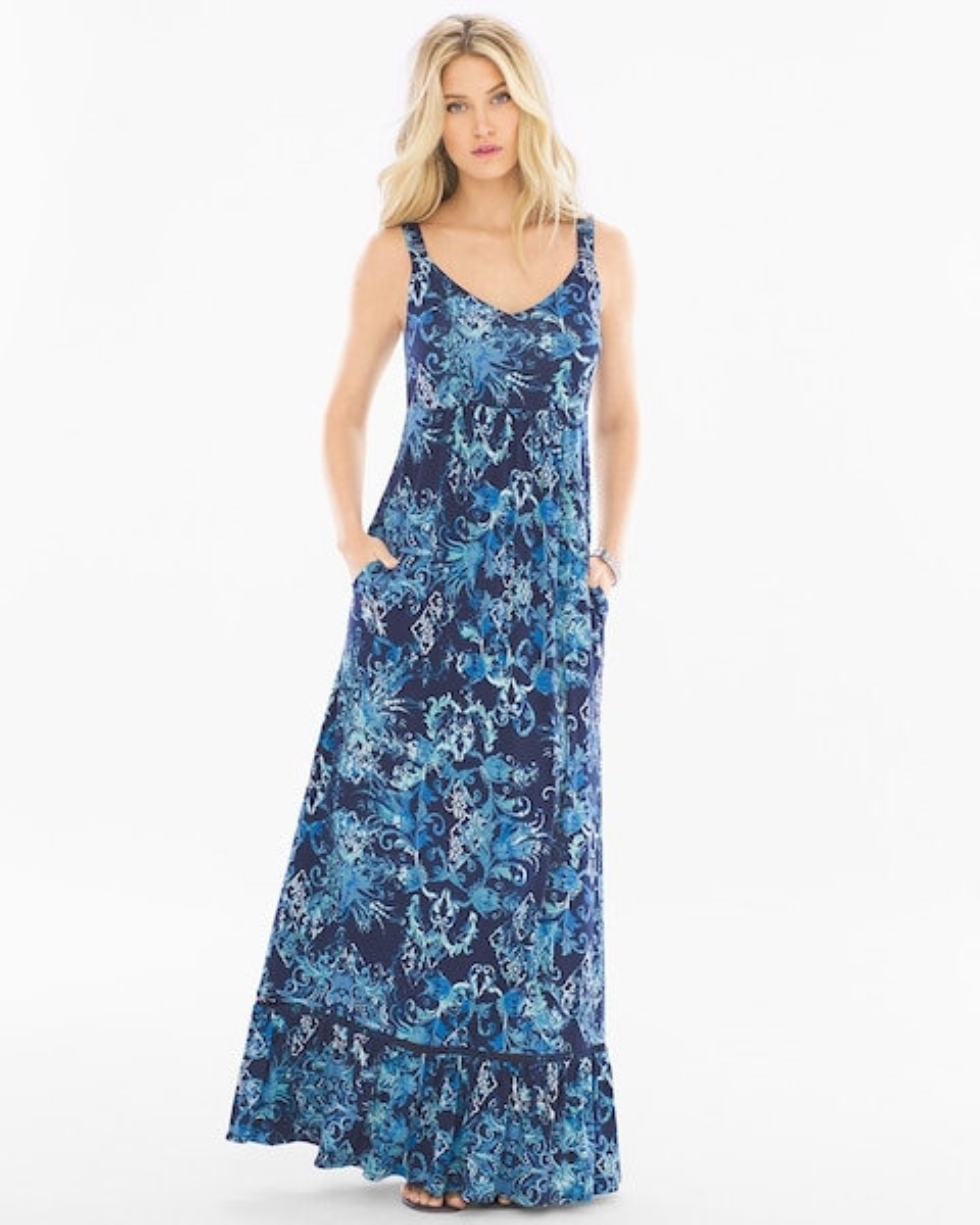0938891418b Soft Jersey Sleeveless Tiered Maxi Dress