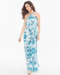 Soft Jersey Sleeveless Tiered Halter Maxi Dress