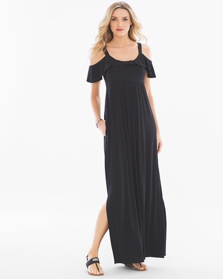 Soft Jersey Flounce Cold Shoulder Maxi Dress LG