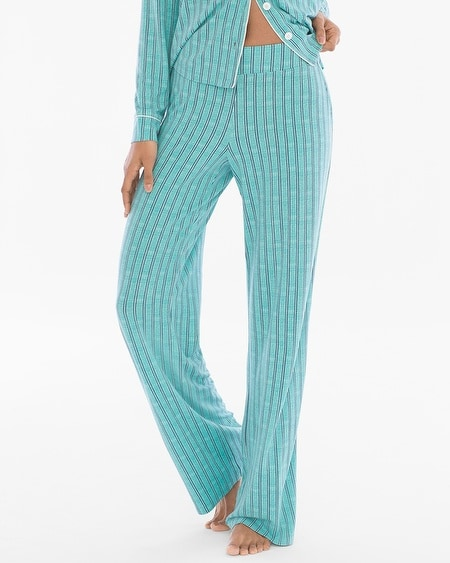 Contrast Piped Pajama Pants Heritage St Teal Treasure RG
