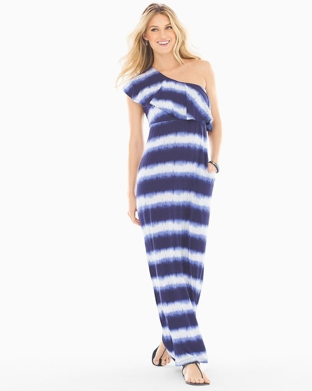 Soft Jersey One Shoulder Ruffle Maxi Dress Dyed Stripe Navy TL