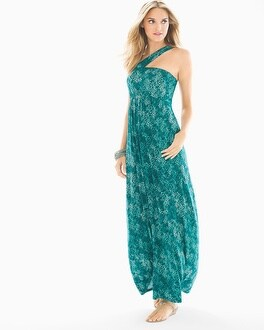 Soft Jersey One Shoulder Halter Maxi Dress