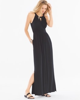 Sleeveless Shirred Waist Halter Maxi Dress