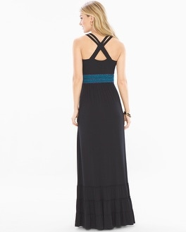 Soft Jersey Strappy Smocked Waist Maxi Dress