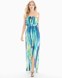 Soft Jersey Flounce Bandeau Maxi Dress