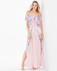 Soft Jersey Flounce Cold Shoulder Maxi Dress