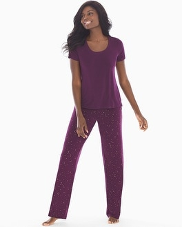 Cool Nights Short Sleeve Pajama Set Stars Bordeaux by
