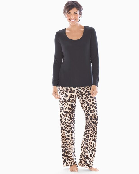 d138c93645559 Scoopneck Long Sleeve Pajama Set Lovely Leopard with Black RG