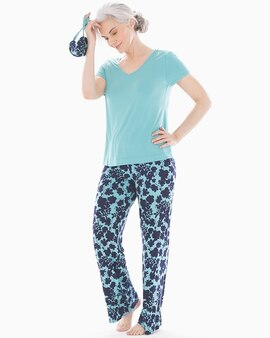 632d76ac56c9 Cool Nights V-Neck Short Sleeve Pajama Set with Eyemask Mirage Floral W Aqua