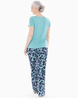 409d39a5c3 Cool Nights V-Neck Short Sleeve Pajama Set with Eyemask Mirage Floral W Aqua