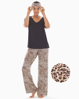 d07a19b9e4f8 Cool Nights V-Neck Short Sleeve Pajama Set with Eyemask Purrfect W Black