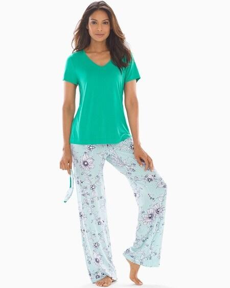 c294a961be2 Cool Nights V-Neck Short Sleeve Pajama Set with Eyemask Villa Sketch W  Cabana