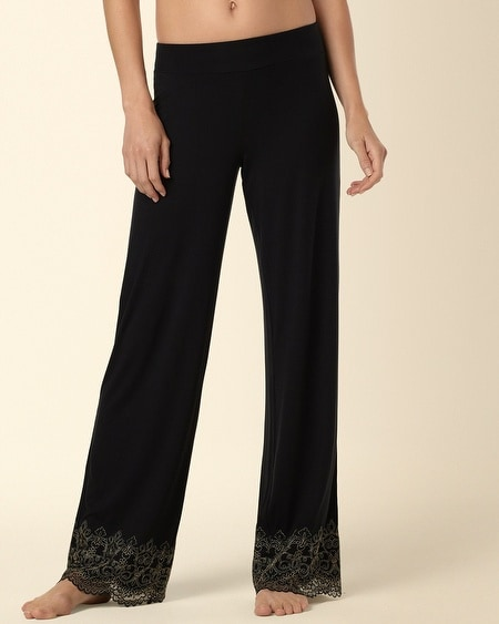 Scroll Lace Pajama Pant Black/Gold