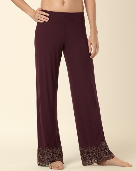 Embraceable Scroll Lace Pant Merlot REG
