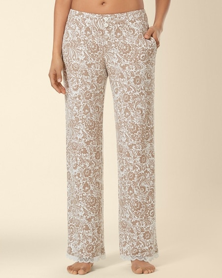 Lace Pajama Pant Feather Flower Latte