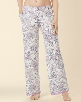 Embraceable Cool Nights Lace Pajama Pant Passport Paisley Ivory