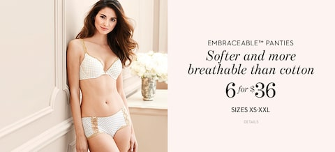 Embraceable Panties | Softer and more breathable than cotton | 6 for $36 | Sizes XS-XL | Details