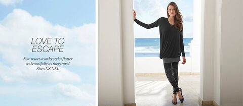 Love To Escape. | New resort-worthy styles flatter as beautifully as they travel. | Sizes XS-XXL