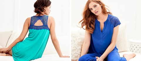 Model on the left is wearing Metallic Lace Nightgown Dynasty Green/Jewel Blue. Model on the right is wearing Popover Pajama Top and pant in Jewel Blue