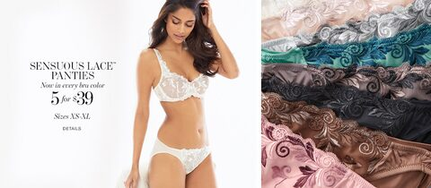 Sensuous Lace Panties - Now in every bra color. | 5 for $39 | Sizes XS-XL | Details