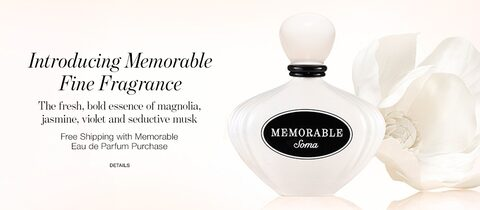 Introducing Memorable Fine Fragrance. The fresh, bold essence of magnolia, jasmine, violet and seductive musk. Free Shipping with Memorable Eau de Parfum Purchase. | Details.