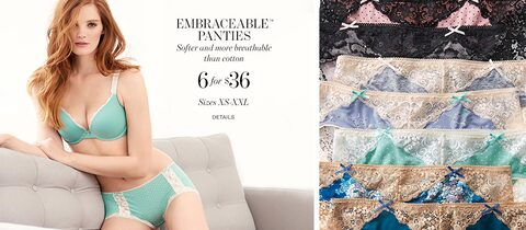 Embraceable Panties - Softer and more breathable than cotton. | 6 for $36. | Sizes XS-XXL. | Details
