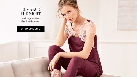Romance The Night. | In vintage shades of pink and marsala. Shop Lingerie.