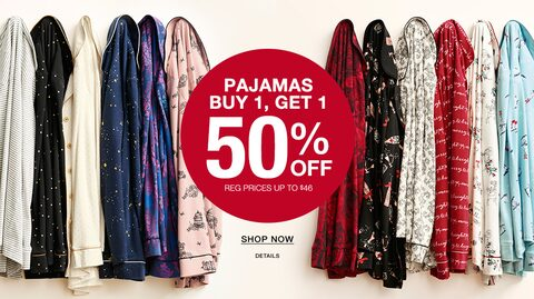 Pajamas Buy 1, Get 1 50% Off. Regular Prices up to $46. Shop Now.