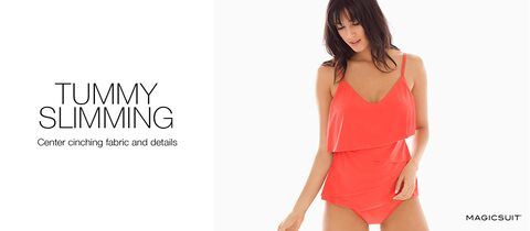 Tummy Slimming. Center cinching fabric and details.