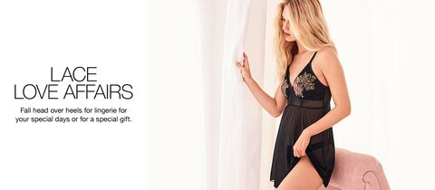 Lace love affairs Fall head over heels for lingerie for your special days or for a special gift.