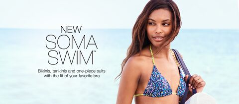 New Soma Swim. Bikinis, Tankinis and one-piece suits with the fit of your favorite bra.