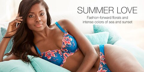 Summer Love. Fashion-forward florals and intense colors of sea and sunset.