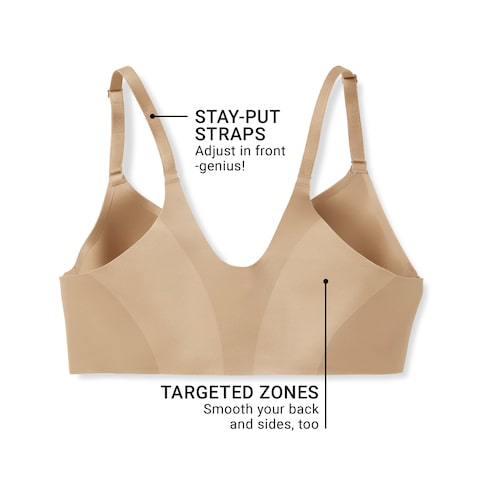 fd06ee724e Stay-put straps. Adjust in front. Genius! Targeted zones smooth your back