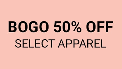 BoGo 50% Off select apparel. detials